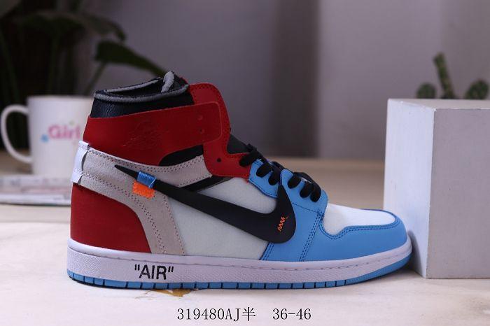 Men Off White x Air Jordan 1 Basketball Shoes AAA 527