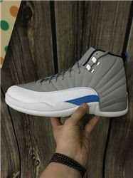 Men Basketball Shoes Air Jordan XII Grey University Blue AAAAA 257