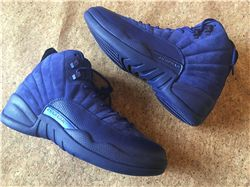 Women Sneakers Air Jordan XII Blue Suede AAAA 245
