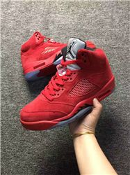 Men Basketball Shoe Air Jordan 5 Red Raging B...