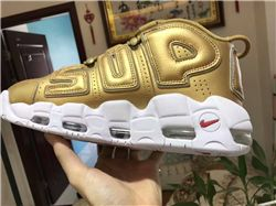 Men Superme x Nike Air More Uptempo Gold