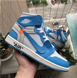 Men Off White x Air Jordan 1 Powder Blue