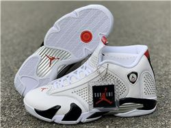 Men Supreme x Air Jordan 14 White Black