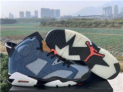 Men Air Jordan VI Washed Denim Basketball Sho...