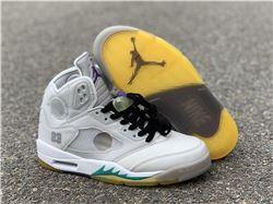 Men Off White x Air Jordan 5 Gray Green