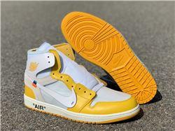Men Off White x Air Jordan 1 Yellow