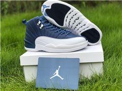 Men Air Jordan 12 Stone Blue