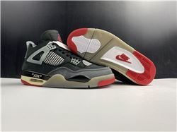 Men Off White x Air Jordan 4 Bred