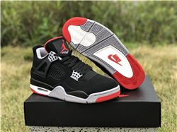 Men Air Jordan 4 Bred Nike Logo