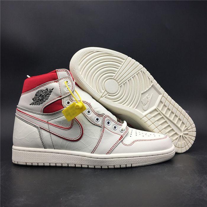 Men Air Jordan 1 Retro High OG SailRed Basketball Shoes AAAAA 741